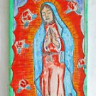 Folk Vintage Religious Icon Anchorage Alaska Fidencio Virgin Guadalupe Painting