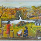 Folk Art Vintage Painting Cooking Over Fire Churning Butter Hungry Dog Baulos