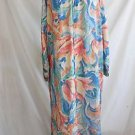 Mary McFadden Lounge Wear Vtg 80 Hostess Gown Robe Maxi Dress NOS Caftan Floral