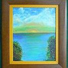 Vintage Original Seascape Painting Sunset Over Ocean Naive Marine Framed