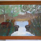 Folk Naive Vintage Painting  Forest Cottage Waterfall Impasto Landscape Cullan