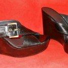 Stuart Weitzman Massive Platform Sandals Shoes Croc Effect Leather Buckle 7.5M