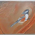 Vintage Folk Art Painting Bird on Branch Ornithology Botanical Naive Haunting