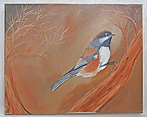 Vintage Folk Art Painting Bird on Branch Ornithology Botanical Naive Haunting