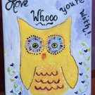 Outsider Art Folk Painting Love Whooo You're With Huge Yellow Owl Vine of Hearts