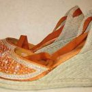 Lush Beaded Wedge Espadrilles Sandals Ankle Wrap Monterey Club NOS