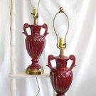 """Vintage Pair Neoclassical Handled Urn Lamps Ceramic Pottery Regency Burgundy 18"""""""