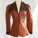 Vintage 70s North Beach Leather Shop Jacket Whip Hand Stitched Tan Brown Fitted