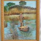 Vintage Painting Hunter Man and His Dog Boat Marsh Golden Retriever J Shannon