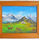 Fredy Sigg Original  Painting Vintage 1982 Swiss Alps Cows Pasture Landscape