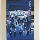 Japanese Vintage Original Painting Watercolor Nightlife Busy Street Scene Geisha