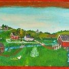 Vintage Folk Art Painting  JE Mayer Pennsylvania Farm Landscape 71 Fisherman Dog