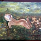 Vintage Folk Painting Nude Tanning Floating In Flower Field Mountains Bogushsva