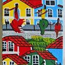 Vintage Original Folk Naive Outsider Painting Black Street Dancers Geiset Brazil