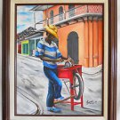 Black Folk Art Painting  Knife Sharpener Working Colonial Street F Georges