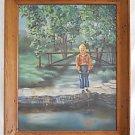 Folk Naive Vintage Painting Fishing Farm Boy River Landscape Huge Virginia Green