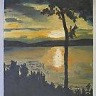 Summer of 63 Vintage Painting Modernist Landscape Sunset Lake Shadow Light Pat