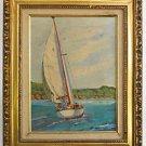 Vintage Painting Sailboat Yacht Marine Santa Barbara California Western Seascape