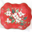 Toleware Vintage Red Orange Tole Tray Hand Painted Dogwood Flowers Scallop Nash