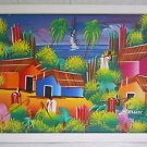 Vintage Original Haitian Painting  Farmers Tools Ocean Boats Cottages Ballik