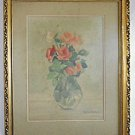 Still Life Roses Vintage Painting Floral Flowers Romantic Fantoni Gilded Frame