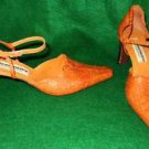 Mary Janes Sandals Bronzatto Vintage Pointy Braided Hand Made Shoes Wood Heel 38
