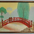 Vintage Folk Outsider Naive Original Painting  Japanese Peasant Landscape Yodi