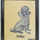 Dog Naive Vintage Needlepoint Adorable Gray Toy Poodle Chou Puppy Love 74 Framed