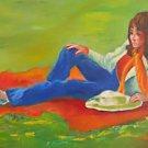 Coolest Girl Folk Vintage Painting Brunette Beauty in Sneakers Jeans Tannenbaum