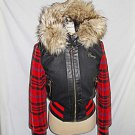 Coogi Deadstock Bomber Jacket  Hoodie Faux Fur Varsity Plaid Sleeves Wool NOS S