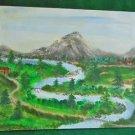 Folk Art Naive Western Painting Grand Tetons Snake River Wyoming Signed Austin