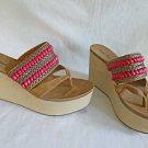 New Old Stock NOS Deadstock Michael Antonio Platform Beaded Wedges  Sandals 10