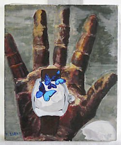 Allegorical Vintage Painting Black Hand of Time Passing Watch Butterfly Loran