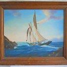 Western Folk Marine Vintage Painting Yacht Sail 1969 Monterey California Stokes