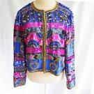 Vintage Beaded Sequin Jacket Evening Cropped Stripe Deadstock Kagen Silk Heavy