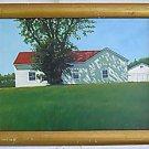 Outsider Folk Realism Vintage Painting Suburban House Modernist Garden Chestnut