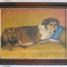 Folk Outsider Naive Vintage Painting 2 Dogs Beagle and Mutt Pals Virginia Green