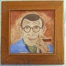 Vintage Outsider Folk Art Painting Tile George Burns and Cigar Huge Frame Dicker