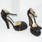 Moschino Platform Ankle Strap Studded Peep Toe Grommets Bow Black Suede Shoes 7