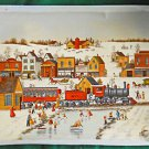 Vintage Giclee Print of Painting Canvas Locomotive Snow Village Skating Smith