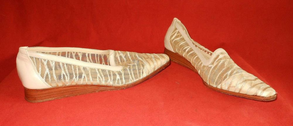 Wedge Flats Sheer Transparent Nude Leather Moc Loafers Shoes Arti Mode Pointy 36