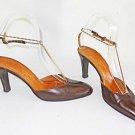 Vintage 70s Charles Jourdan Sandals Brass T Strap Bar Chain Ankle Wrap Pumps 7AA