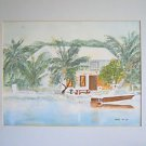 Folk Vintage Winnie Painting Barbecue Old House Key Largo Florida Pirates Cove