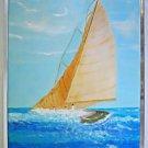 Folk Naive Vintage Painting Racing Sloop Sailboat Marine Breaking Waves Hilda