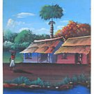 Folk Naive Outsider Vintage Painting Tropical Seascape Thatch Black Dominguer