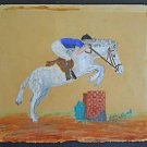 Folk Art Naive Vintage Painting Watercolor Jumping Obstacle Horse Show Bradford