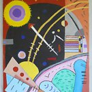Outsider Folk Sci Fi Original Painting Abstract Cubist Steampunk Space S Blum