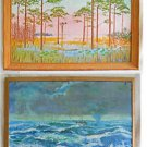 Recto Verso Vintage Folk Art Painting Sunrise Everglades Stormy Ocean Tiny Boat