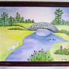 Vintage Naive Folk Painting Heron Ducks Irises Landscape Ornithology Anne Krug