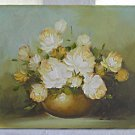Vintage Painting Still Life White Roses Flowers Romantic Regency Botany Nichola
